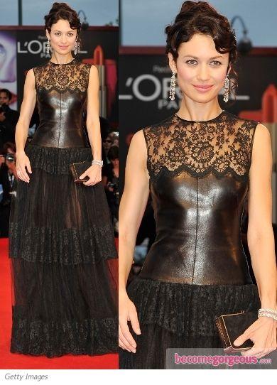 Olga Kurylenko in Valentino Lace and Leather Gown