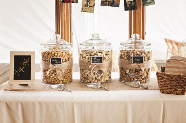 Popcorn Station: We love this display idea for your afternoon meeting break. Guests can create their own perfect mixture!