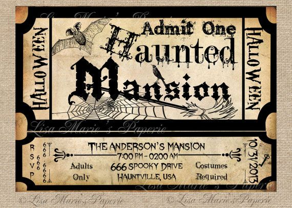 halloween haunted mansion ticket invitation by LisaMariesPaperie, $14.00