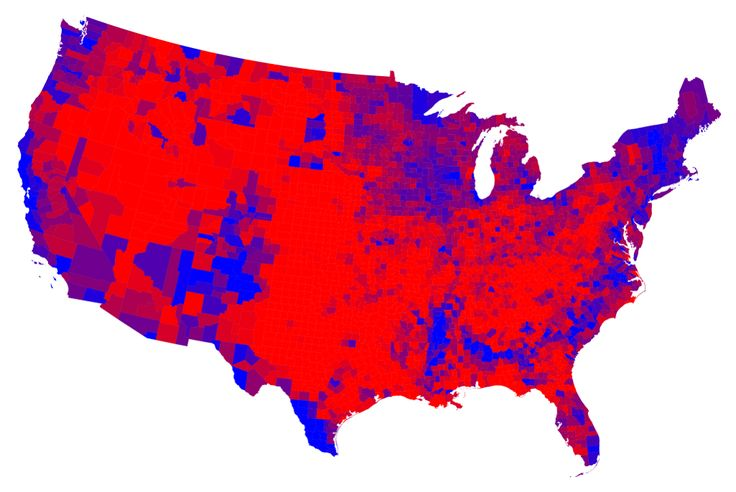 2012 election map by county with color gradient
