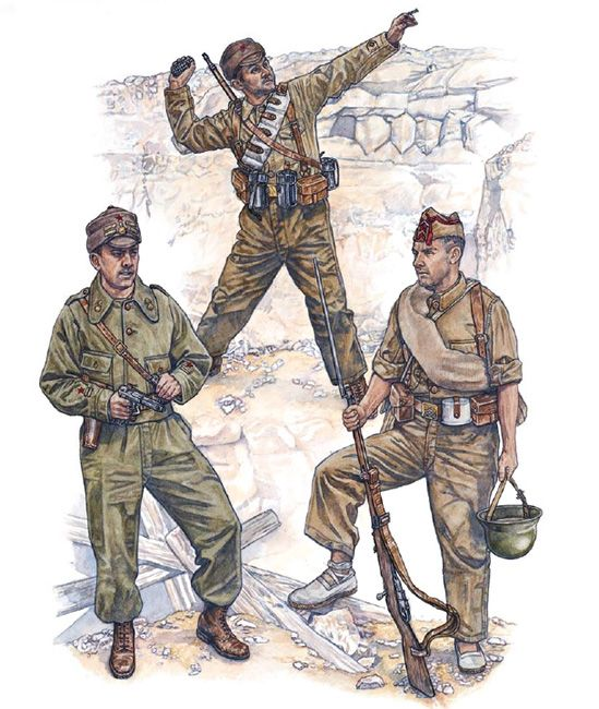 """Republican Forces - Regular troops, field dress: • Teniente of artillery • 'Dinamitero' • Cabo 'Quinto Regimiento'/1ª BM"", Stephen Walsh"