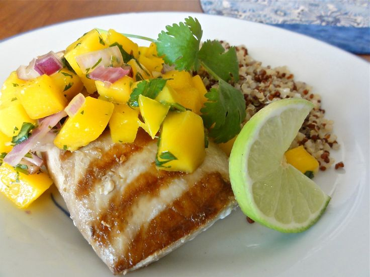 Grilled Ono Fish with Mango Salsa. My mouth is watering! It was so good.