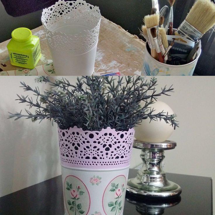 El antes y después de un macetero @ikeaspain  ...un poco de pintura y unas servilletas...y tuneado con decoupage