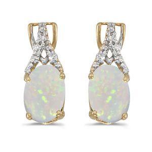 14k-Gelbgold-Oval-Opal-und-Diamant-Ohrringe