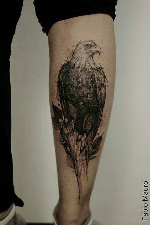Sketch work eagle tattoo on the right calf. Tattoo artist: Fabio Mauro