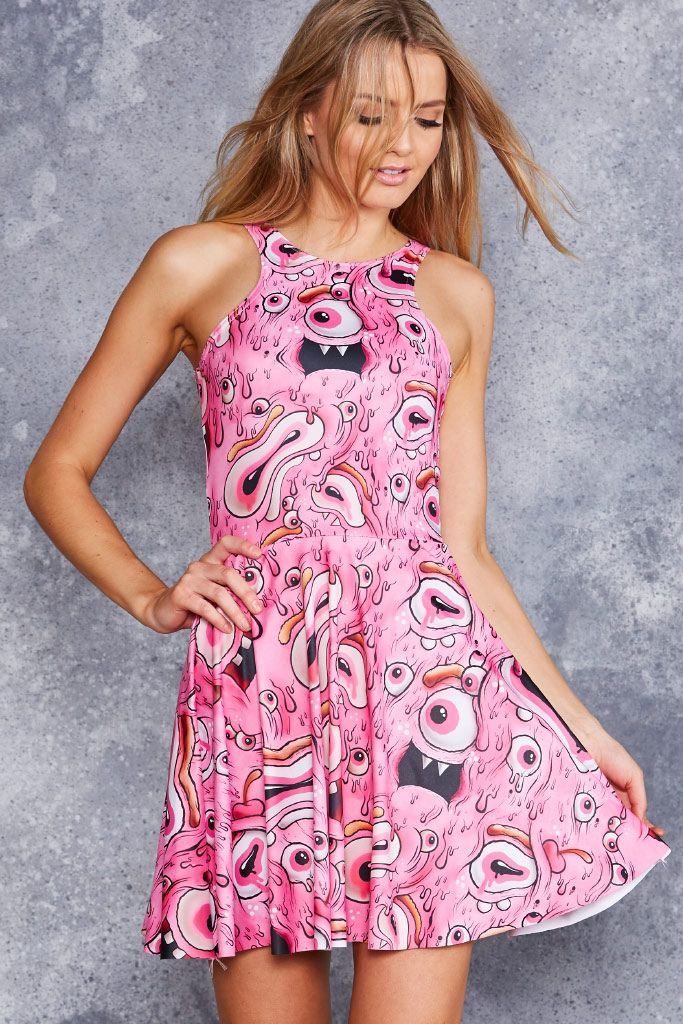 Pink Eyed Monster Reversible Skater Dress - 48HR ($95AUD) by BlackMilk Clothing