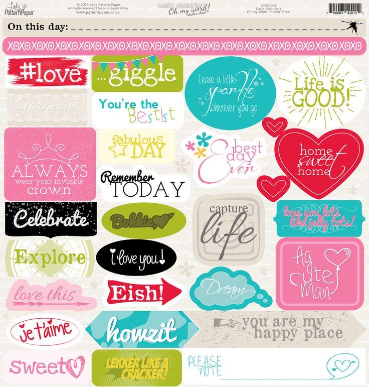 Lady Pattern Paper - Basic Essentials Oh My Word! Sticker Sheet - LPPS0001