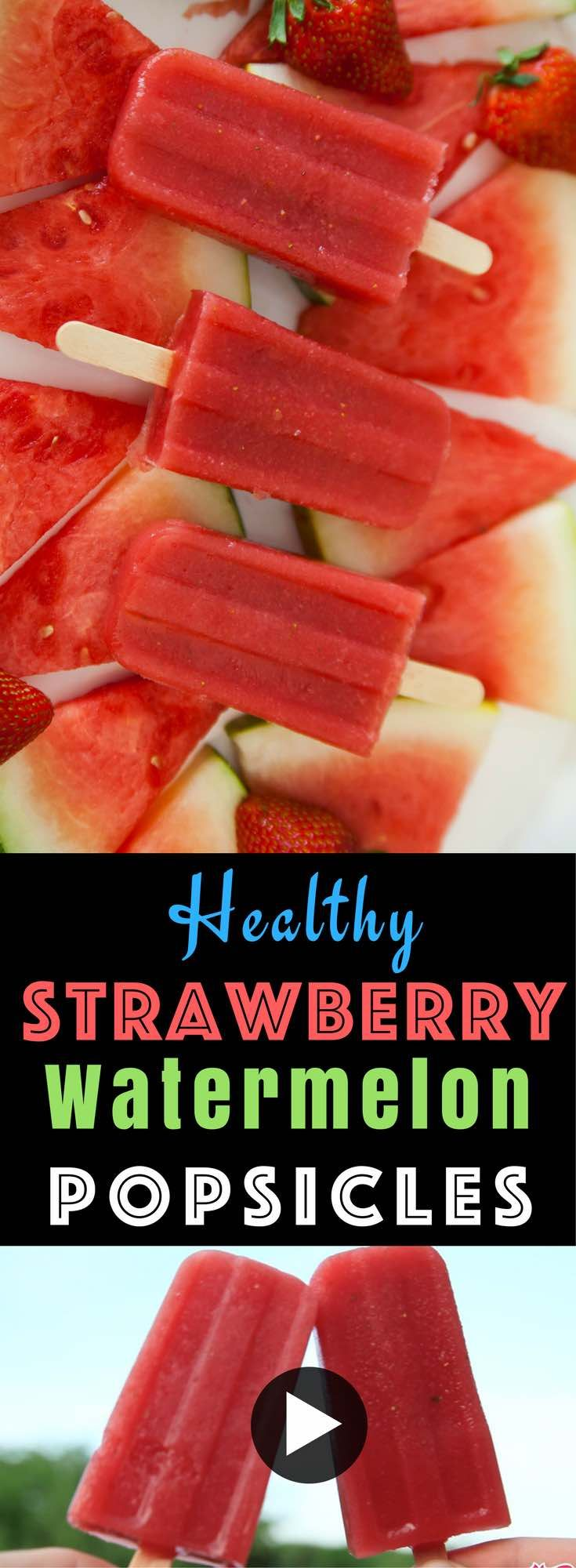 See how to make deliciously refreshing Strawberry Watermelon Strawberry Popsicles with only 3 ingredients. Easy and fun to make! With video.