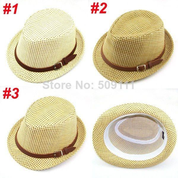 Дети sunhats дети соломы шлема fedora мальчиков летом пляж шапки пляж шляпа дети шапка бесплатная доставка 10 шт. BH165