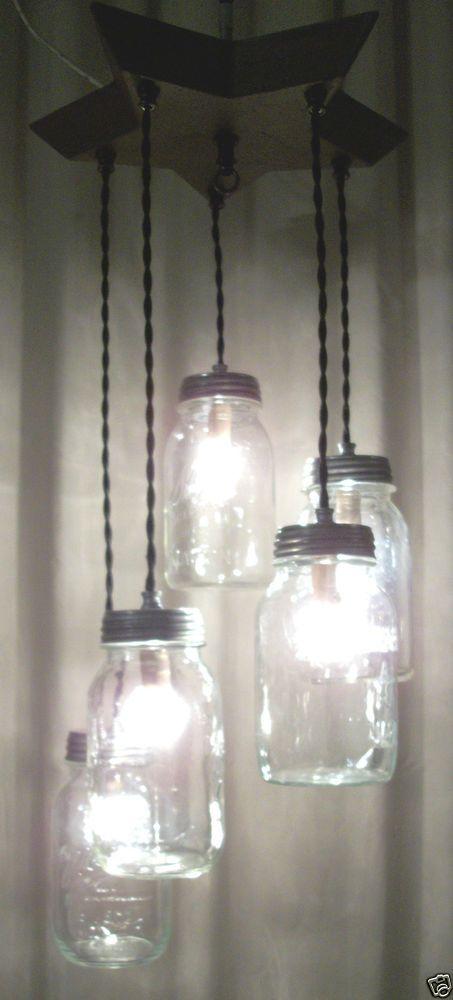 Primitive 5 Mason Jar Light Chandelier 1-ofA-Kind~BEAUTIFUL~WOOD STAR plate reclaimed wood barn wood mason jar light fixture rustic
