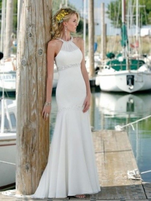 Trumpet/Mermaid Halter Court Trains Sleeveless Chiffon Beach Wedding Dresses For Brides