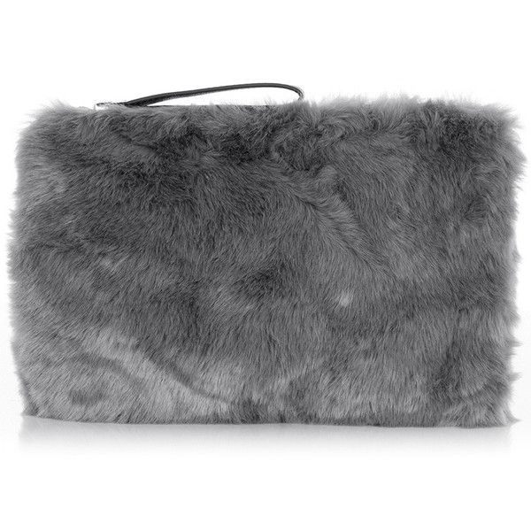 OASIS Fur Clutch Bag ($38) ❤ liked on Polyvore featuring bags, handbags, clutches, grey, zipper purse, fur purse, oasis handbags, gray handbags and fur handbag