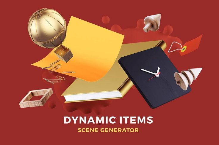 Free mockup Dynamic Items Scene Generator