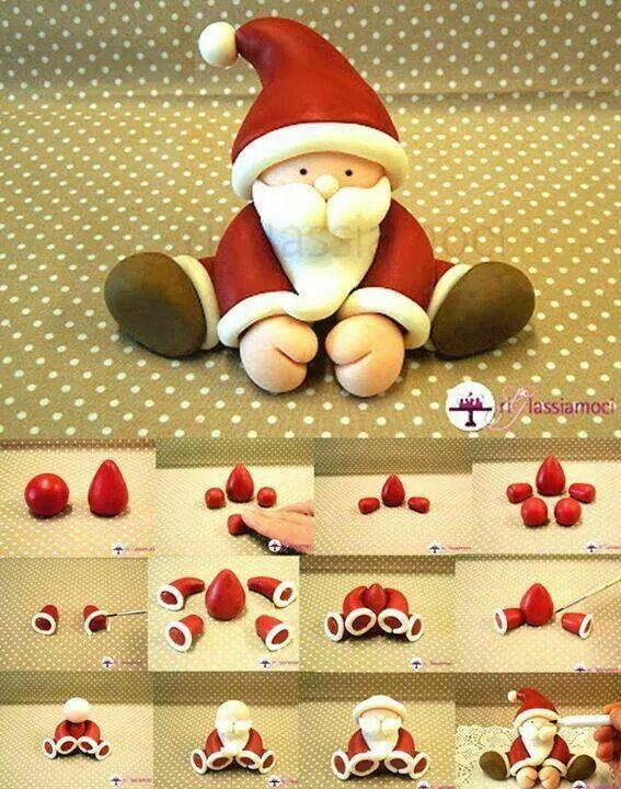 Santa en masa flexible - arcilla polimerica, paso a paso
