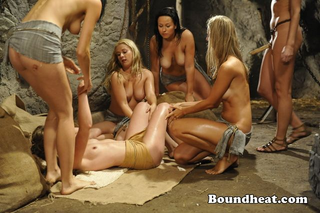 Naked sexy girl slave with