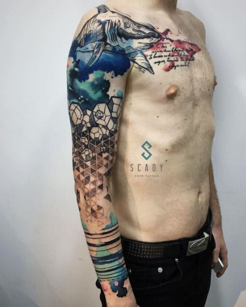 sleeve tattoo men abstract watercolor