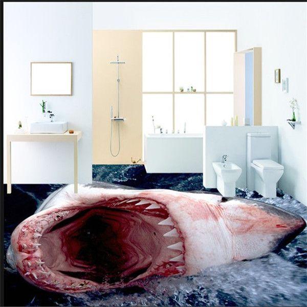 3D Stereoscopic Shark With Open Mouth Ultra High Definition Tile Bathroom Floor Tile Ocean Floor