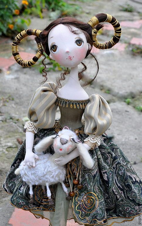 Купить Авторская кукла Моя дочь - ОВЕН - оливковый, кукла ручной работы, подарок девушке