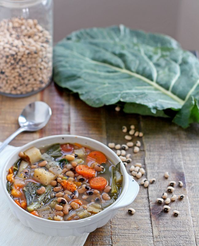 A Black-Eyed Pea and Collard Greens Soup recipe. Vegetarian, vegan, gluten-free, and healthy!