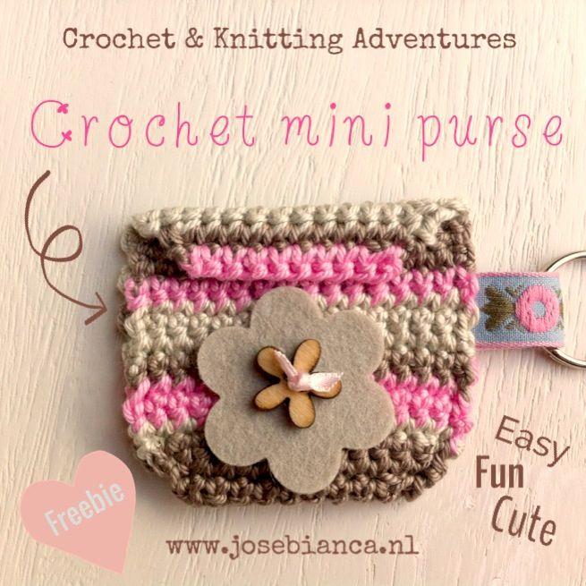 #free instructions to make this #crochet mini purse. Enjoy it! http://josebianca.blogspot.nl/2013/10/gehaakt-mini-portemonneetje-crochet.html