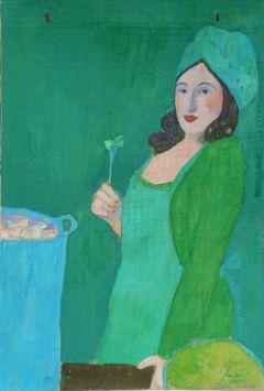 Elisabeth Jonkers, Envelop 2 groene dame, Olieverf bruine envelop, 36x24 cm, €.125,-