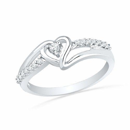 Sterling Silver Round Diamond Heart