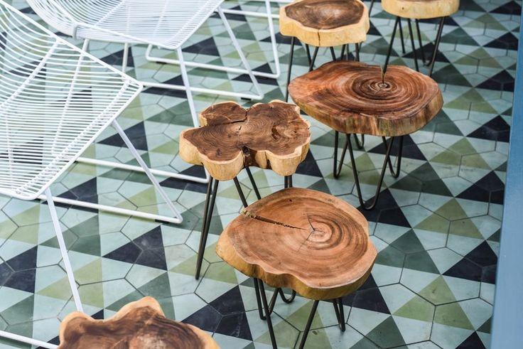 KISMET SEXTANT cement tile in custom color combination for JUNIPER Restaurant, Austin, 2016