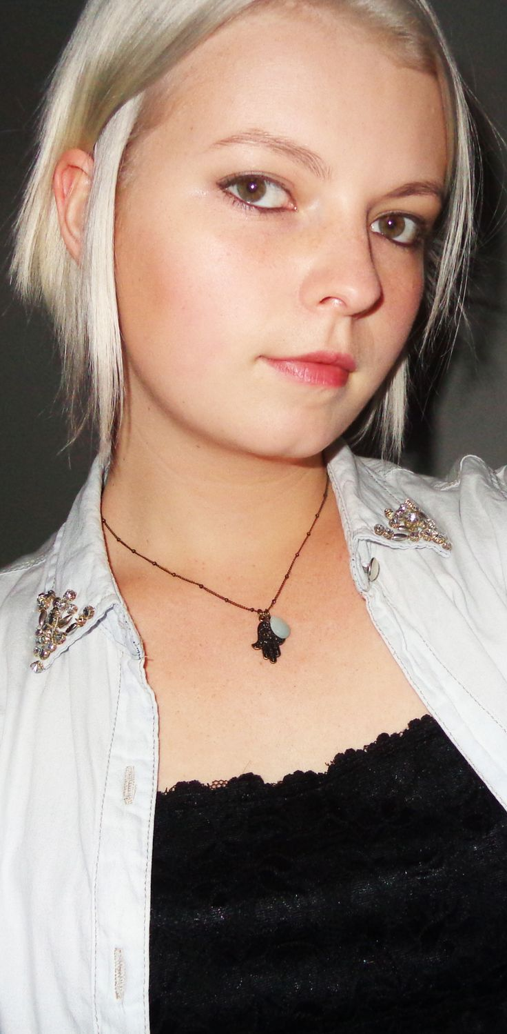 cotton and lace shirt, a blue unbuttoned shirt and a rustic bronze necklace from the blog www.mainstreetfashion.co.za
