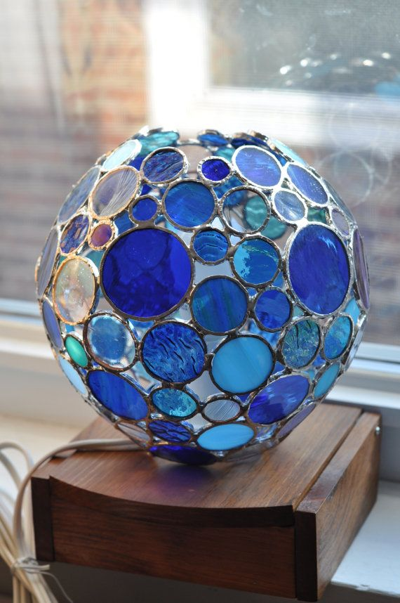 Round Circles Lamp   shades of blue stained glass   by ABJglassworks
