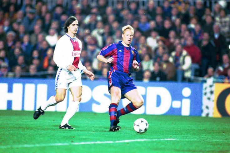 Partido de ida de cuartos de final de la Champions League 1994-95 entre el Barça y el PSG disputado en el Camp Nou. Ronald Koeman, con Ginola