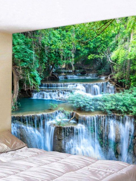 6139b2447f 2019 Forest Waterfalls Print Tapestry Wall Art In FOREST GREEN W118 INCH  L79 INCH