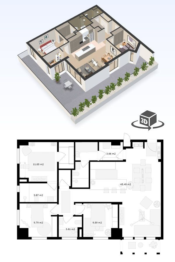 2 Bedroom Apartment Floor Plan In Interactive 3d Get Your Own 3d Model Today At Http Planto3d Com Floor Plans Condo Floor Plans Studio Floor Plans