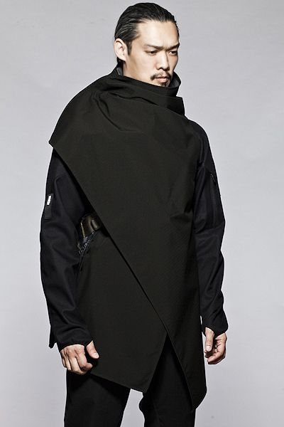 Samurai cloak that can be worn in multiple configurations and folds into the size of a book. Acronym makes sick outerwear!