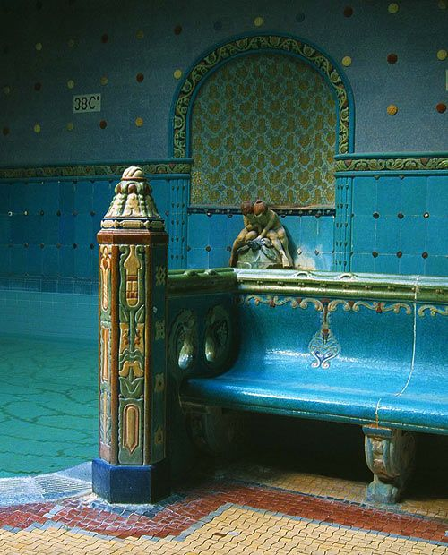 The baths at the Hotel Gellert may be the most famous of the Budapest bath houses and it is certainly a good example of Hungarian Secession Art Nouveau being constructed between 1912 and 1918.