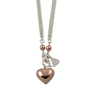 Rose Gold Heart with Double Chain Necklace