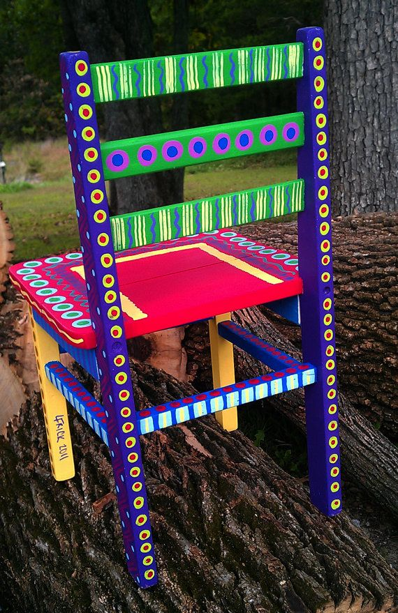Hand Painted Childs Chair by LisaFrick on Etsy                                                                                                                                                                                 More