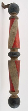 """Wall-hanging barber pole, 35"""" tall,"""