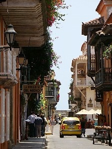 Balconies over the street. Cartagena, Colombia. http://www.going2colombia.com