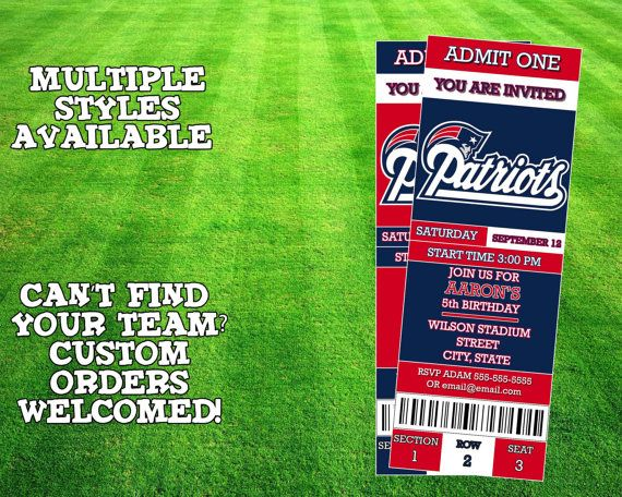 New England Patriots Ticket Invitation by AWilsonDesigns on Etsy
