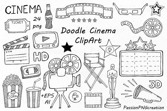 Doodle cine gráfico dibujado a mano cine clip arte PNG EPS
