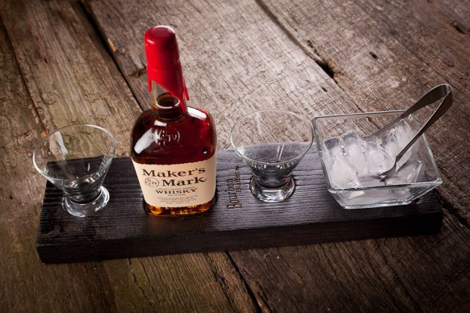 Real men drink Maker's Mark. Bourbon Buffet, $150 includes serving platter crafted from oak timbers reclaimed from barns, two glasses, ice dish and tongs. Bourbon not included. Made in North Carolina