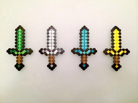 Minecraft Diamond Sword made with Perler by CreativeKidShoppe