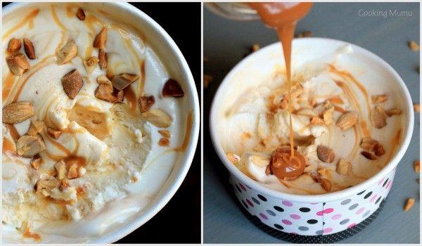 RECETTE GLACE MAISON SANS SORBETIERE Sundae caramel cacahuètes   Après la baguette magique, voici donc la GLACE MAGIQUE ! Ingrédients : 40 cl de crème entière liquide + 250g de lait concentré sucré + les toppings de votre choix (ici caramel et cacahuètes non salées et grillées à la poêle)
