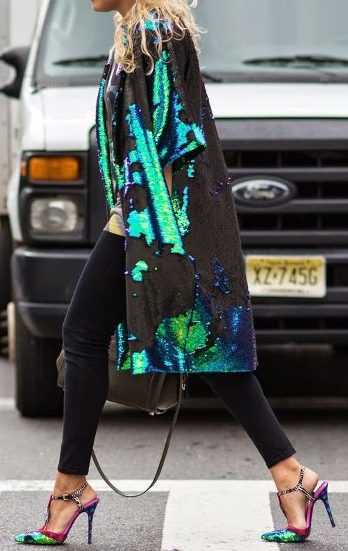sequin coat. #streetstyle