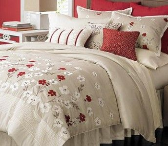 New Martha Stewart Cherry Lane 9 Piece Queen Comforter Set