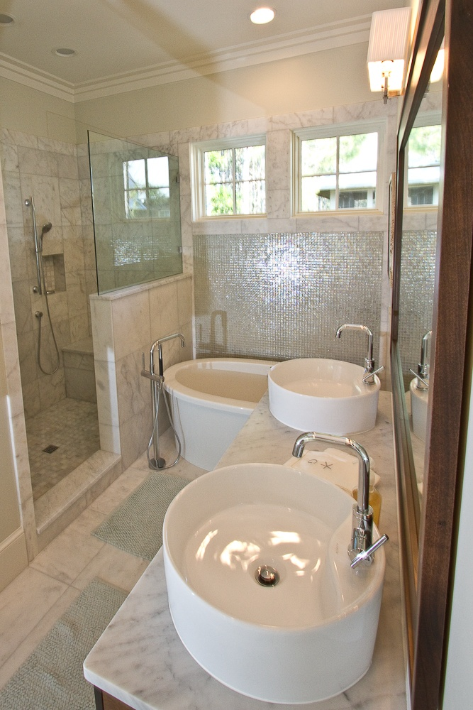 love the irridescent tile mixed with marble the tub lovely borges brooks