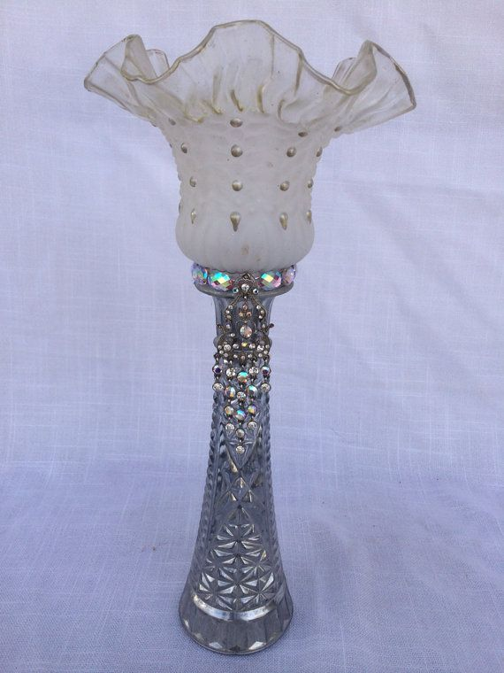 Upcycled ceiling fan light shade candle holder by TheBeautifulSwan, $30.00