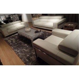 Divani Casa S909 Modern Light Grey Leather Sofa Set - Modern Sofas - Living Room