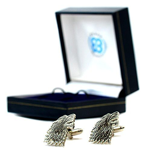 Game Of Thrones Dire Wolf House Stark Sigil Pair Of Cufflinks Westeros in Gift Box