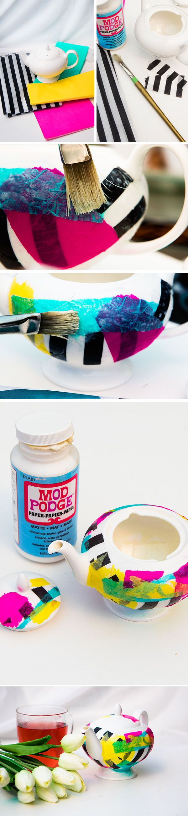 Give your old teapot a makeover with this super easy tissue paper DIY